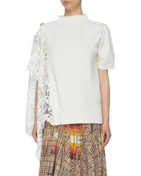 81995583380e Sacai Star Lace Back Slub T-shirt in White - Lyst