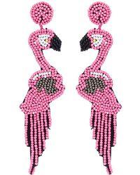 Kenneth Jay Lane Beaded Flamingo Drop Earrings Lyst