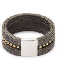 John Hardy - 'classic Chain' Rhodium Silver 18k Yellow Gold Jawan Ring - Lyst