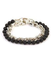 John Hardy - 'classic Chain' Onyx Bead Silver Double Wrap Bracelet - Lyst