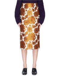 Ms Min - Floral Jacquard Pencil Skirt - Lyst