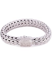 John Hardy - Diamond Silver Woven Chain Bracelet - Lyst