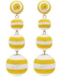Kenneth Jay Lane - Stripe Threaded Sphere Drop Clip Earrings - Lyst