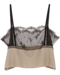 Ms Min - Chantilly Lace Panel Wool Camisole Top - Lyst