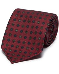 Drake's - Floral Print Silk Repp Tie - Lyst