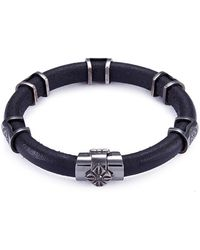 Shamballa Jewels - 'korne' Diamond Rhodium 18k Gold Leather Bracelet - Lyst