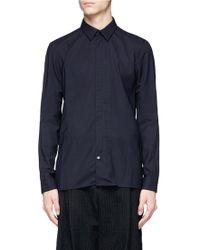 DEVOA - Zip Front Wool Hopsack Shirt - Lyst