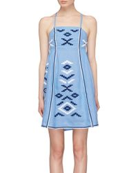 MARCH11 - 'rose Power' Geometric Embroidered Tunic Dress - Lyst