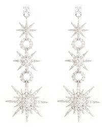CZ by Kenneth Jay Lane - Cubic Zirconia Pavé Starburst Link Drop Earrings - Lyst