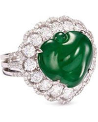 LC COLLECTION - Diamond Jade 18k Gold Peach Ring - Lyst