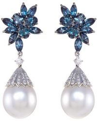 LC COLLECTION - Diamond Alexandrite Pearl Platinum And Silver Circular Drop Earrings - Lyst