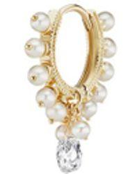 Maria Tash - 'coronet' Diamond Pearl Single Clicker Hoop Earring - Lyst