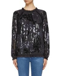 Needle & Thread - 'floral Gloss' Sequin Long Sleeve Georgette Top - Lyst