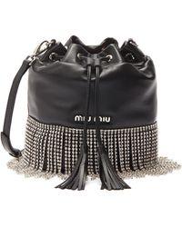 Miu Miu Glass Crystal Fringe Leather Bucket Bag