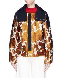 Ms Min - Hooded Stripe Floral Jacquard Jacket - Lyst