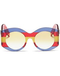 Gucci - Web Stripe Acetate Oversized Round Sunglasses - Lyst