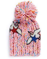 Venna - Strass Star Crane Patch Pompom Rib Knit Beanie - Lyst