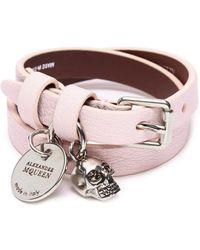 Alexander McQueen - Skull Charm Double Wrap Leather Bracelet - Lyst