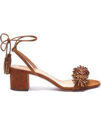 Aquazzura - 'wild Crystal' Strass Fringe Tassel Tie Leather Sandals - Lyst