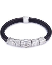 Shamballa Jewels - 'korne Pavé' Diamond 18k Gold Leather Bracelet - Lyst
