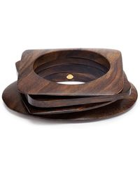 Kenneth Jay Lane - Geometric Wood Bangles 4-piece Set - Lyst
