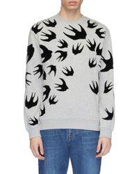 McQ - Swallow Velvet Flock Print Sweatshirt - Lyst