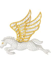 LC COLLECTION - Diamond 18k Gold Pegasus Brooch - Lyst