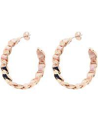 W. Britt | Curb Chain Line Building Print Silk Ribbon Hoop Earrings | Lyst