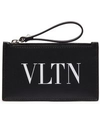 Valentino - Logo Print Leather Zip Coin Wallet - Lyst