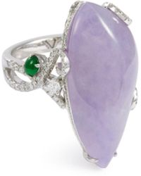 LC COLLECTION - Diamond Jade 18k White Gold Ring - Lyst