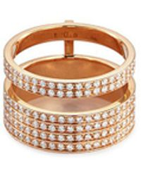 Repossi - 'berbère Module' Diamond 18k Rose Gold Two Row Ring - Lyst