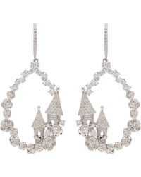 HEFANG - 'castle' Cubic Zirconia Hoop Drop Earrings - Lyst