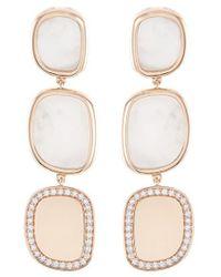 Roberto Coin | 'black Jade' Diamond Mother Of Pearl 18k Rose Gold Link Drop Earrings | Lyst