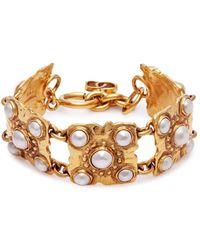 Chanel | Faux Pearl Square Link Bracelet | Lyst