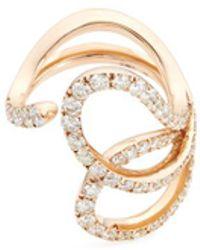 FerrariFirenze - 'nastro' Diamond 18k Rose Gold Sculptural Ring - Lyst