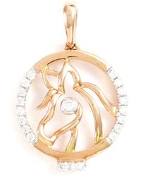 LC COLLECTION | Diamond 18k Rose Gold Chinese Zodiac Pendant - Horse | Lyst