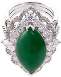 LC COLLECTION - Diamond Jade 18k White Gold Marquise Ring - Lyst