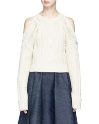 CALVIN KLEIN 205W39NYC - Strap Back Cold Shoulder Cable Knit Cropped Jumper - Lyst