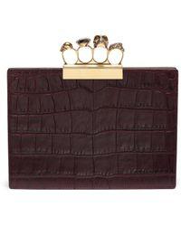 Alexander McQueen - Swarovski Crystal Croc Embossed Leather Knuckle Clutch - Lyst
