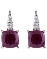 John Hardy - Diamond Magic Cut Ruby Silver Drop Earrings - Lyst