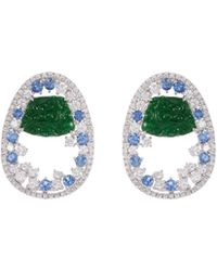 LC COLLECTION - Diamond Sapphire Jade 18k White Gold Cutout Drop Earrings - Lyst