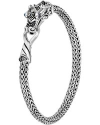 John Hardy - Sterling Silver Legends Naga Extra Small Chain Bracelet With Blue Sapphire Eyes - Lyst