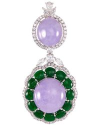 LC COLLECTION - Diamond Jade 18k White Gold Pendants - Lyst