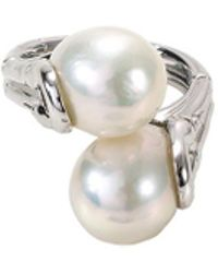 John Hardy - Freshwater Pearl Silver Rhodium Bypass Ring - Lyst