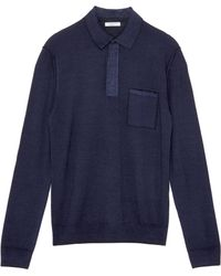 Boglioli - Chest Pocket Virgin Wool Knit Long Sleeve Polo Shirt - Lyst