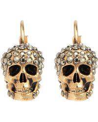 07eef519d Alexander McQueen Swarovski Crystal Skull Drop Hoop Earrings in ...