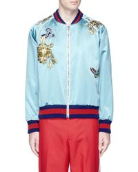 Gucci - Bird Appliqué Silk Duchesse Satin Souvenir Jacket - Lyst