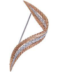 Buccellati - 'orocoll' Diamond 18k Gold Feather Brooch - Lyst