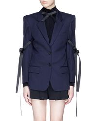 ShuShu/Tong - Buckled Bow Sleeve Wool Blazer - Lyst