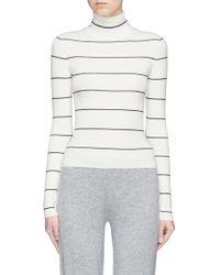 Theory - Stripe Merino Wool Turtleneck Sweater - Lyst